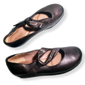 BeautiFeel Metallic Brown Double Strap Mary Janes